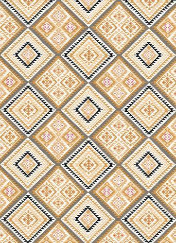 Vliestapete Azteken-Look gelb weiß grau Erismann 5411-03