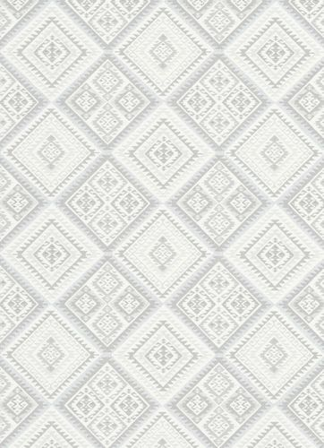 Vliestapete Azteken-Look hellgrau weiß Erismann 5411-31