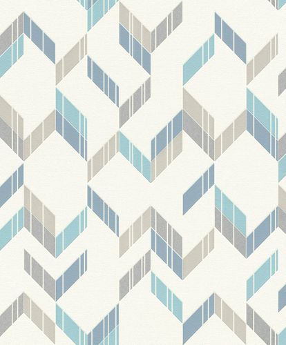 Non-Woven Wallpaper 3D spikes white blue gloss Rasch 402810