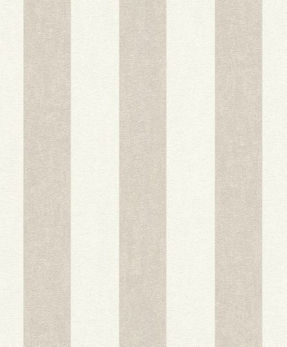 Non-Woven Wallpaper striped beige white Rasch 402902