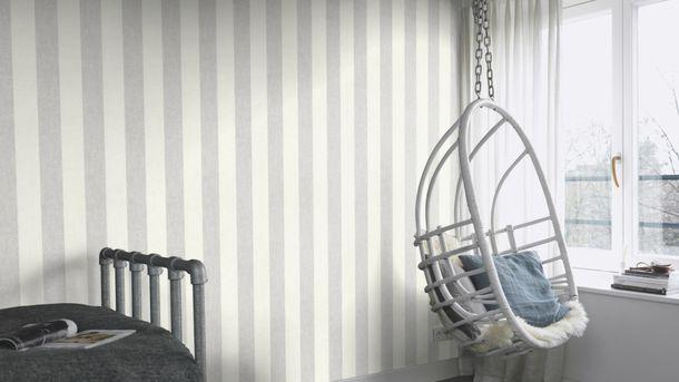 Vliestapete Blockstreifen grau weiß Rasch 402919