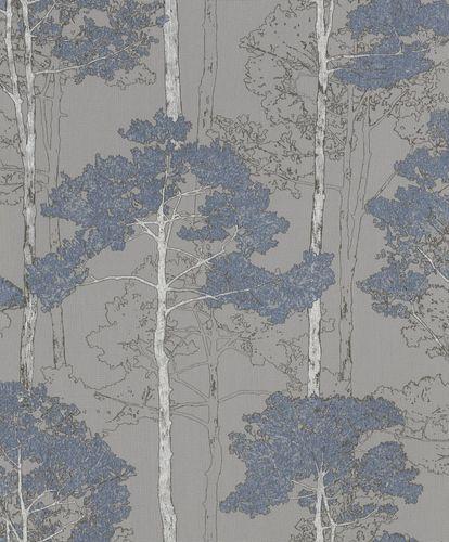Non-Woven Wallpaper Rasch tree floral grey blue 410846