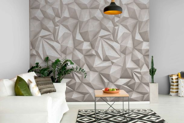 Non-Woven Digital Print Wallpaper 3D concrete stone | A35001