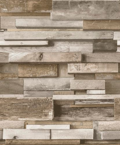 Wallpaper 3D wooden beige brown GranDeco Facade FC3002