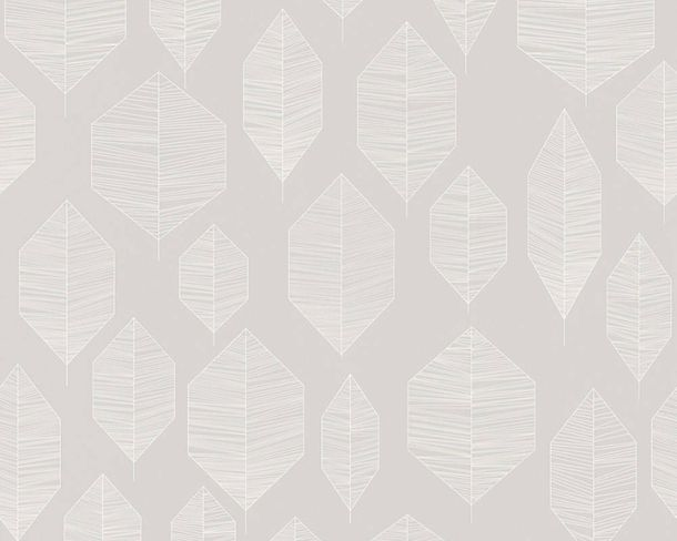 Non-Woven Wallpaper Leaves grey white livingwalls 36209-5