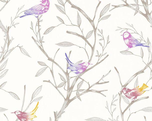 Non-Woven Wallpaper Floral purple livingwalls 36623-2