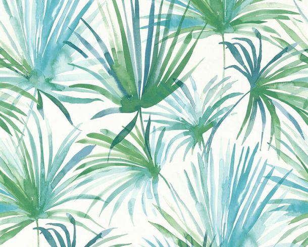 Vliestapete Palmen Floral grün blau livingwalls 36624-2