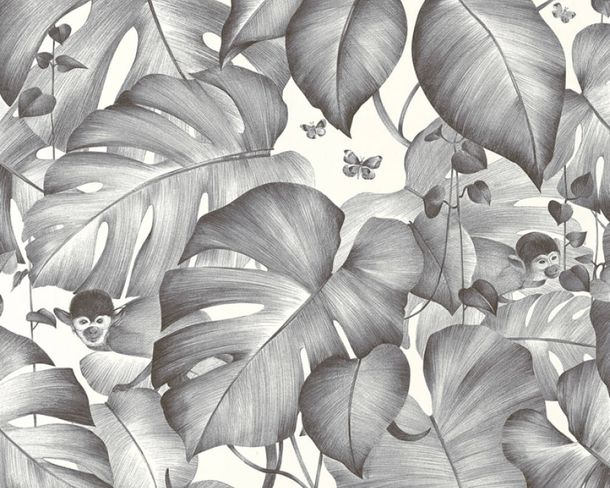 Non-Woven Wallpaper Monkeys grey livingwalls 36625-2