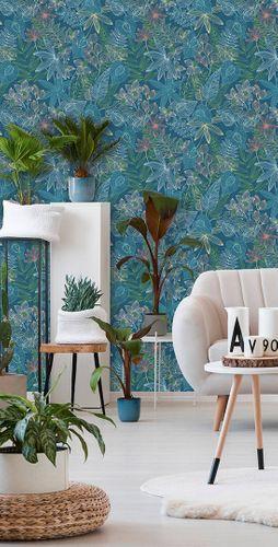 Non-Woven Wallpaper Plants Floral blue colourful AS 36630-1 online kaufen