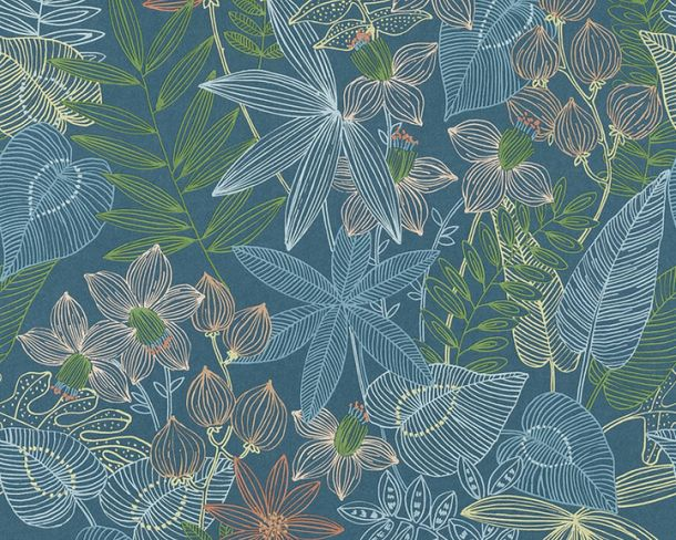 Non-Woven Wallpaper Plants Floral blue colourful AS 36630-1 online kaufen
