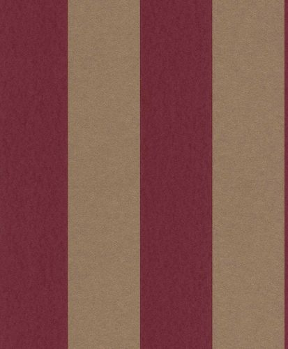 Non-woven Wallpaper Block Stripes red gold Glossy 361734