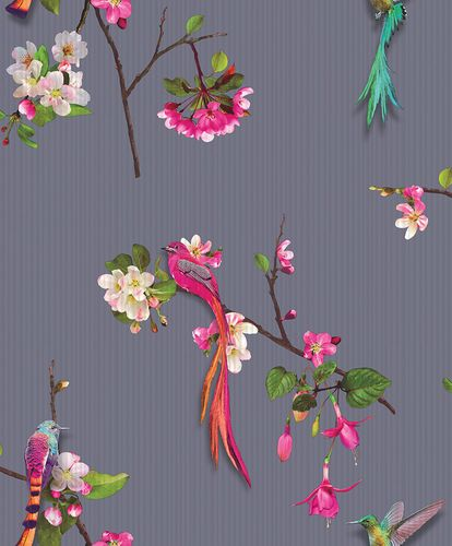 Non-Woven Wallpaper Asia Birds Purple Arthouse 293105