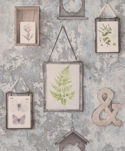 Non-Woven Wallpaper picture frame vintage grey EP2102
