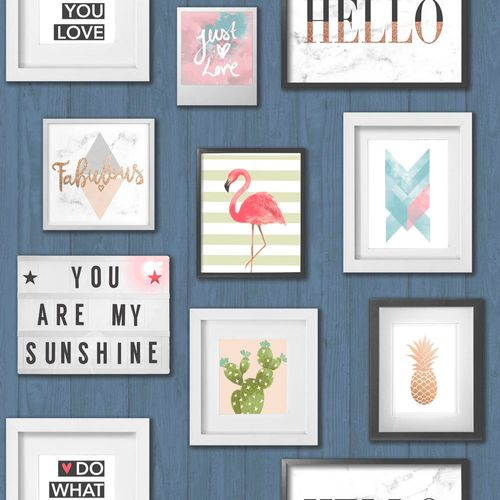Non-Woven Wallpaper picture frame wood blue pink EP2202