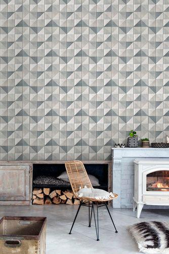 Non-Woven Wallpaper wood panels geometric blue EP3103 online kaufen