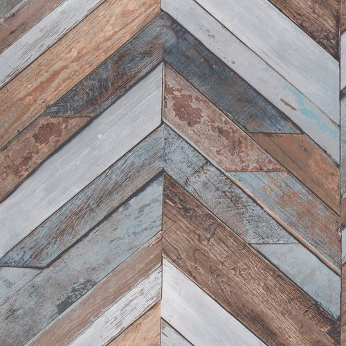 Non-Woven Wallpaper wood wall geometric blue EP3402