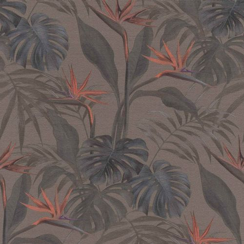 Non-woven Wallpaper Rasch palm leaves brown 529043
