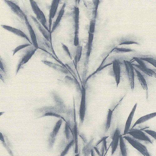 Non-woven Wallpaper Rasch bamboo cream blue 529104