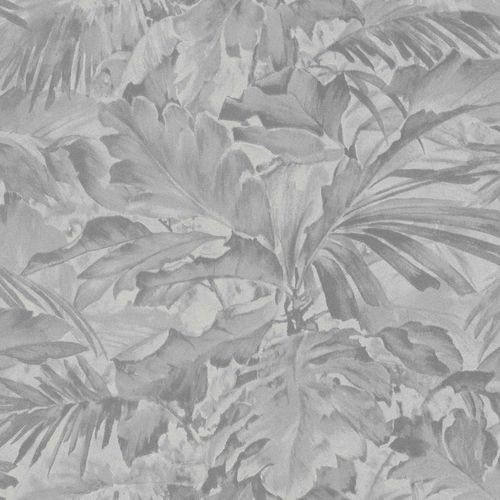 Non-woven Wallpaper Rasch leaves shadow grey 529241
