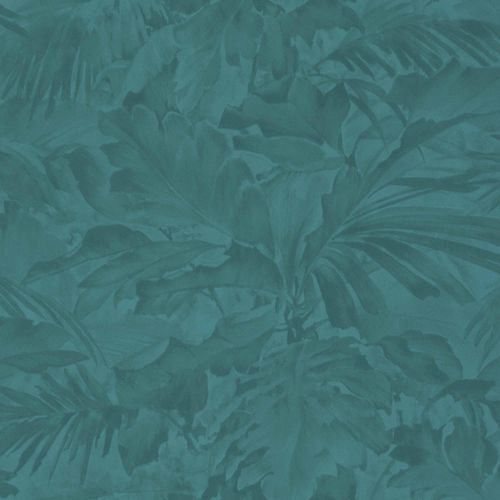 Non-woven Wallpaper Rasch leaves shadow turquoise 529258