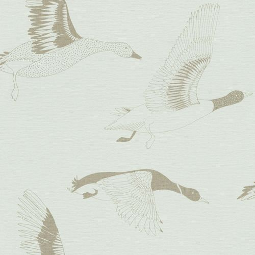 Non-woven Wallpaper Onszelf birds geese lightblue 530742