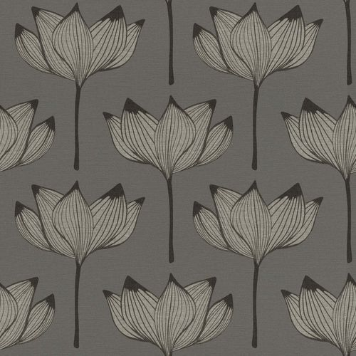 Non-woven Wallpaper Onszelf floral flower silver 530926