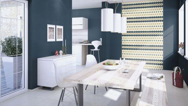 Non-woven Wallpaper Onszelf retro blue gold gloss 531145 online kaufen