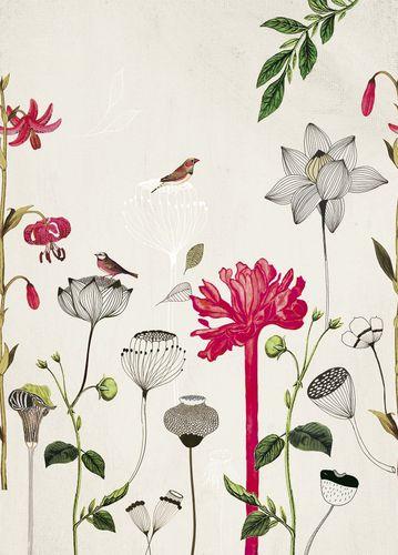 Photo Wallpaper Onszelf flowers birds beige 532029 online kaufen