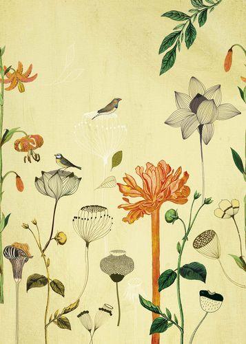 Photo Wallpaper Onszelf flowers birds yellow 532036 online kaufen