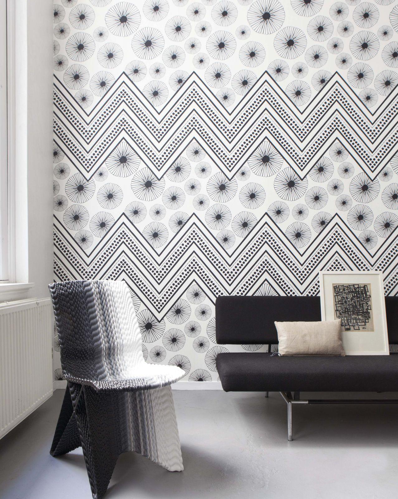 Photo Wallpaper Onszelf Zigzag Pattern Black 532043