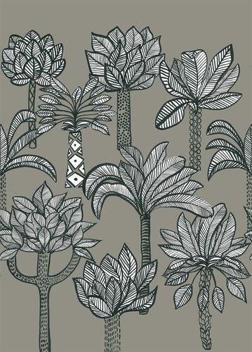 Photo Wallpaper Onszelf palm trees grey white 532050 online kaufen