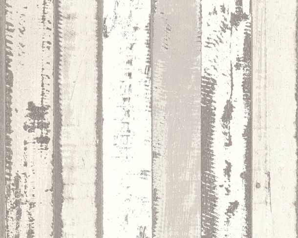 Non-Woven Wallpaper wooden wall used look grey 30258-3