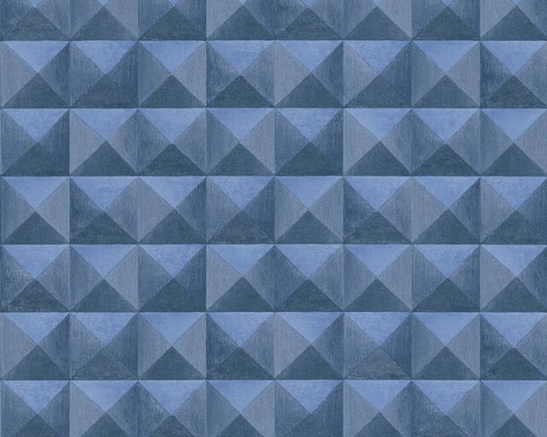 Non-Woven Wallpaper tiles 3D-effect dark blue 36275-3 online kaufen