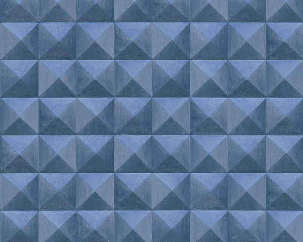 Non-Woven Wallpaper tiles 3D-effect dark blue 36275-3