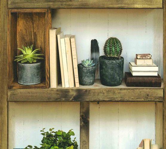 Non-Woven Wallpaper wood bookshelf cactus beige 36469-1 online kaufen
