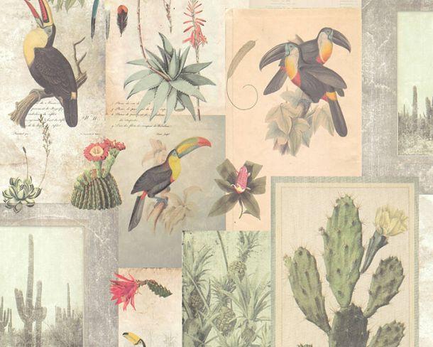 Non-Woven Wallpaper vintage plants toucans beige 36479-1 online kaufen