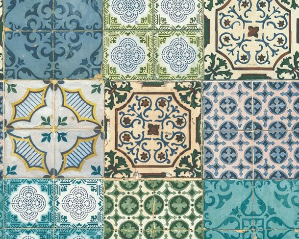 Non-Woven Wallpaper moroccan tiles green 36485-1 online kaufen