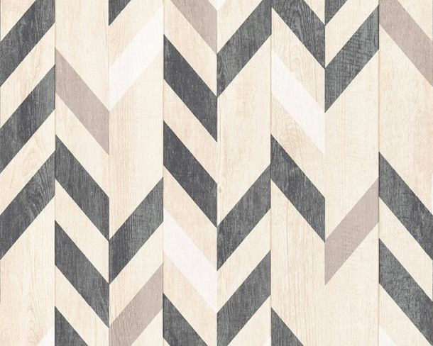 Non-Woven Wallpaper herringbone pattern beige 36496-2
