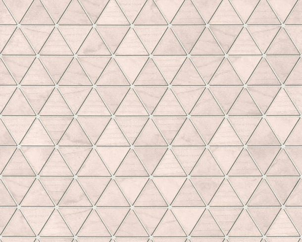 Non-Woven Wallpaper triangles tiles pink grey 36622-1 online kaufen