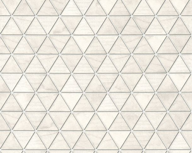 Non-Woven Wallpaper triangles tiles grey cream 36622-2 online kaufen