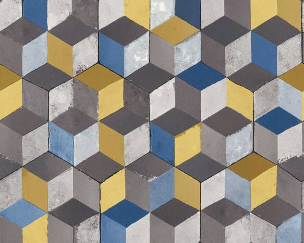 Non-Woven Wallpaper cube 3D-effect yellow blue 36662-2 online kaufen