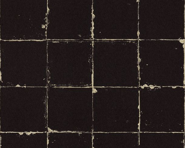 Non-Woven Wallpaper tile look black beige 36664-1