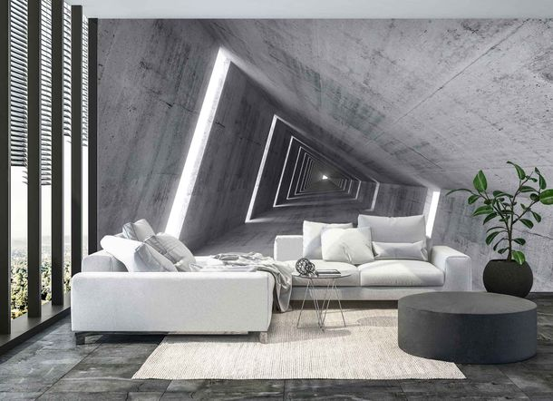 Fototapete Tube Korridor grau Premium Vlies 200g/m²