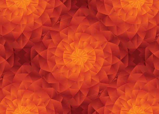 Digital Print Wall Mural Premium Kaleidoscope 3D orange online kaufen