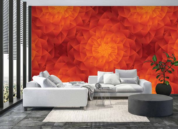 Digital Print Wall Mural Premium Kaleidoscope 3D orange