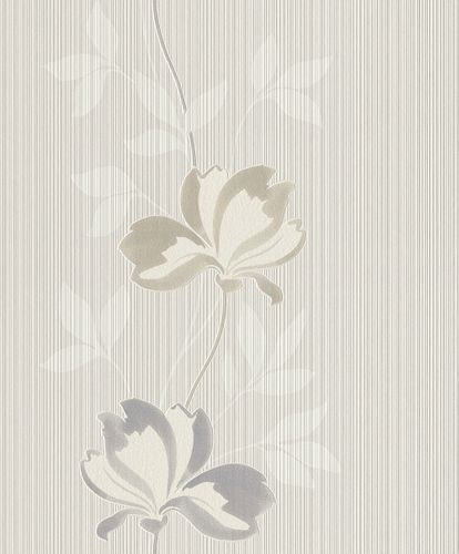 Non-woven wallpaper Rasch lines flower taupe 808209
