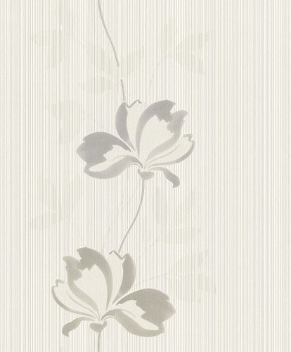 Non-woven wallpaper Rasch lines flower light grey 808216