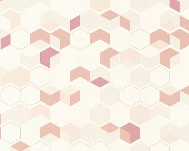 Non-Woven Wallpaper honeycomb white red 36683-2 online kaufen