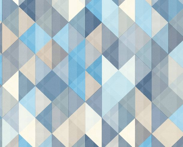 Non-Woven Wallpaper triangle blue grey 36786-3 online kaufen