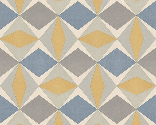 Non-Woven Wallpaper check graphic yellow blue 95766-2 online kaufen